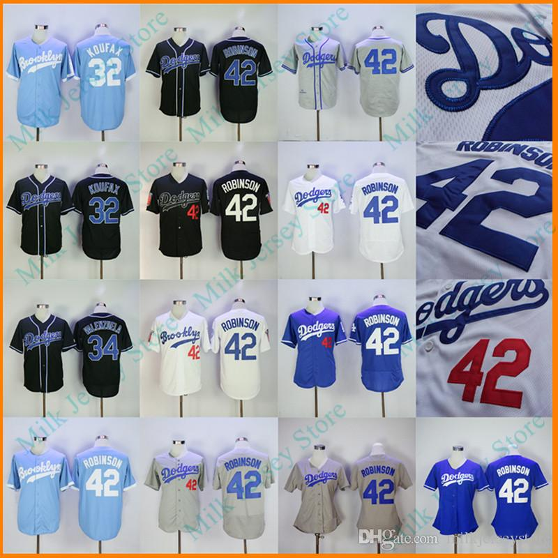 Wholesale los angeles dodgers 42 jackie robinson gray throwback jersey  supplier