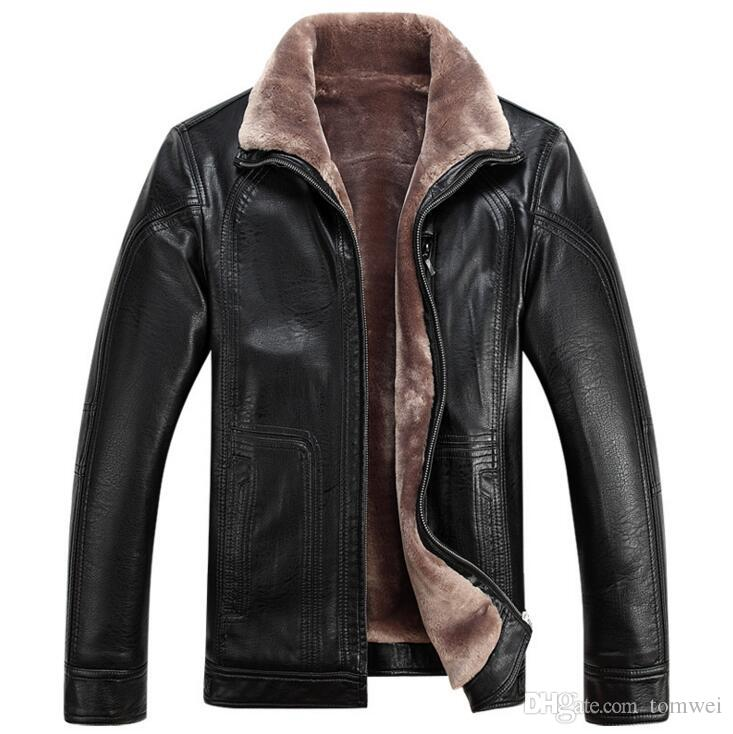 Mens Fur Jackets Winter Coats Warm Leather Jackets Thickening Big ...