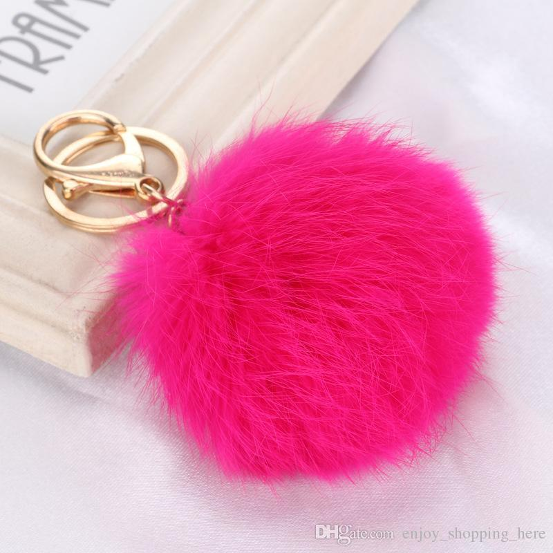 Real Rabbit Fur Ball Keychain 8cm Soft moussant Gold Metal Porte-clés Ball Pom P