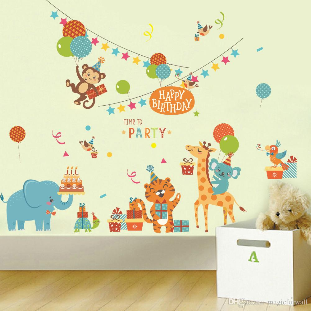 Cartoon animals birthday party wall stickers for kids boys girls cartoon animals birthday party wall stickers for kids boys girls room decor air balloon cake gift party wall graphic poster wall decals happy birthday amipublicfo Choice Image