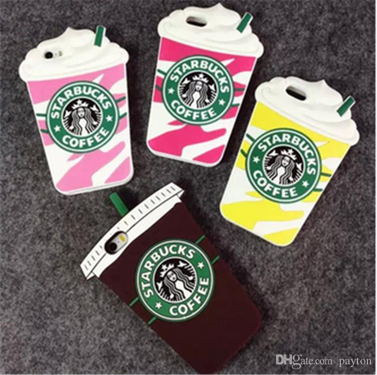 3D Cartoon Starbuck Coffee Rubber Soft Cute Back Cover iphone 5 5S SE 6 6S 7 PLUS Silicone Phone Case Shell 1219