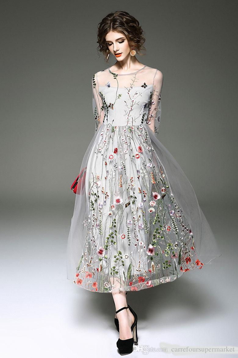 Fairy Full Wrap Colorful Flower Embroidery Sheer Long