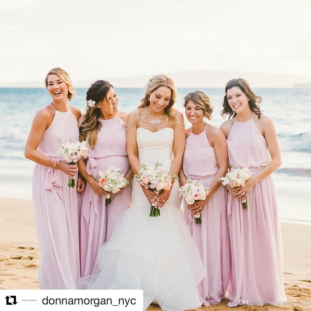 Blush Pink Summer Beach Wedding Bridesmaid Dresses A Line Halter ...