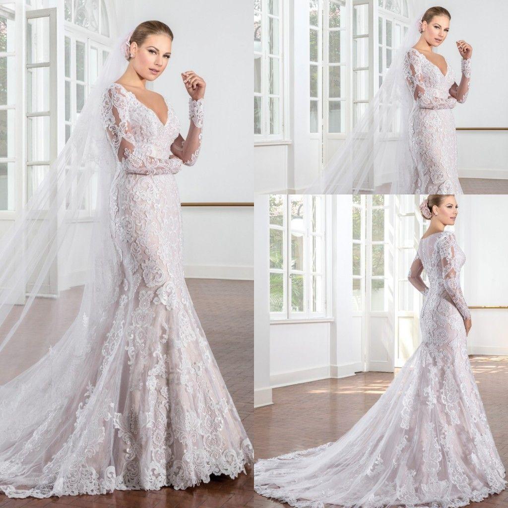 2017 Vestidos De Noiva Renda Long Sleeves Mermaid Wedding