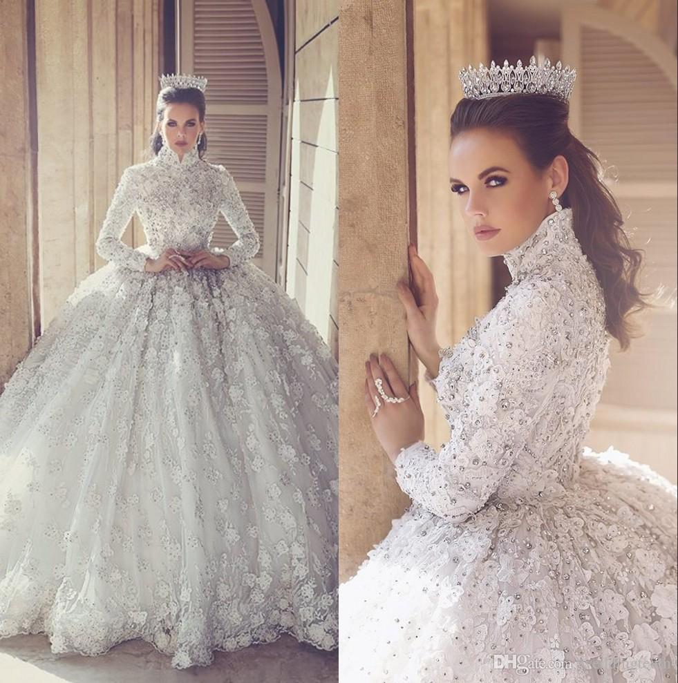 2017 Luxury Lace Ball Gown Wedding Dresses With Long