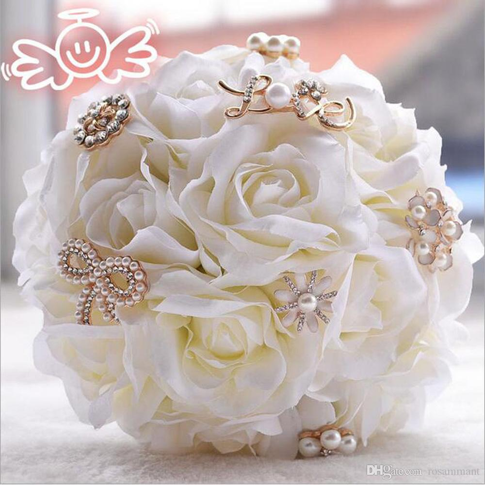 Wedding accessories pearls flowers pearls - 2017 Gorgeous Ivory Silk Flowers Wedding Bouquet Pearls Brooch Crystal Bouquet Wedding Flowers Bridal Bouquets Wedding Accessories Pearls Brooch Wedding