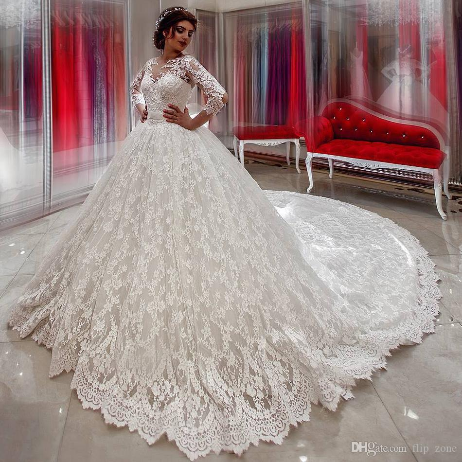Vintage long sleeve wedding dresses lace ball gown for Big white wedding dresses
