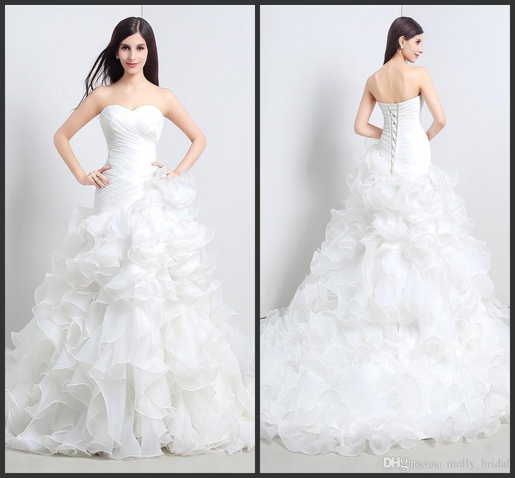 2017 Ruffles Mermaid Wedding Dresses Open Back Strapless