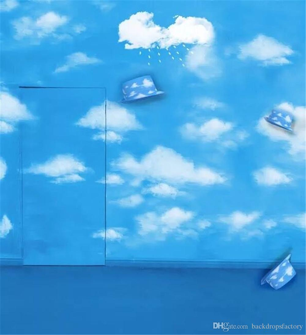 Color booth online - Indoor Room Blue Sky Wall And Door White Clouds Children Photography Backdrop Solid Color Floor Hats Kid Baby Studio Photo Booth Background Sky Blue