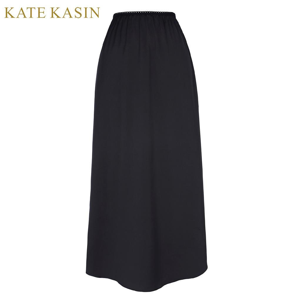 Kate Kasin Women Satin Long Half Slips Skirt Ladies Sexy Solid ...