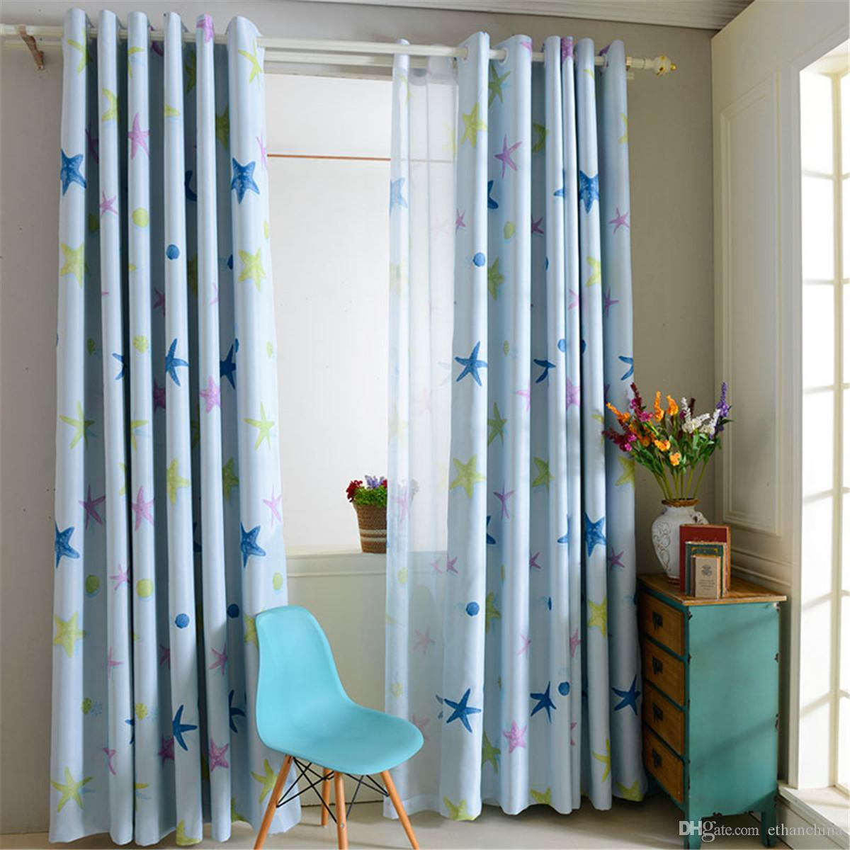 ivolador window blackout curtain balcony valance starfish pattern polyester curtains for home bedroom decaration 100x250cm curtain curtains blackout online