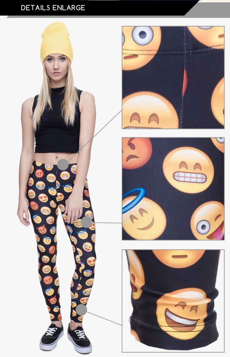 Leggings féminins Emoji 3D Graphic Full Print Pantalon doux Skinny Stretchy de s