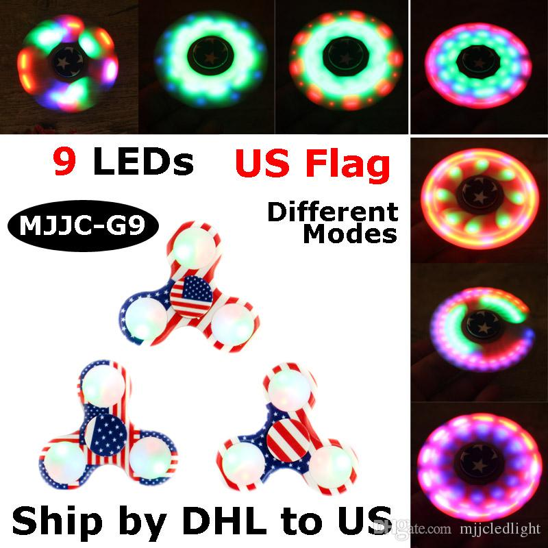 LED Spinner à la main avec interrupteur ON OFF US Drapeau LED Fidget Spinner Fin