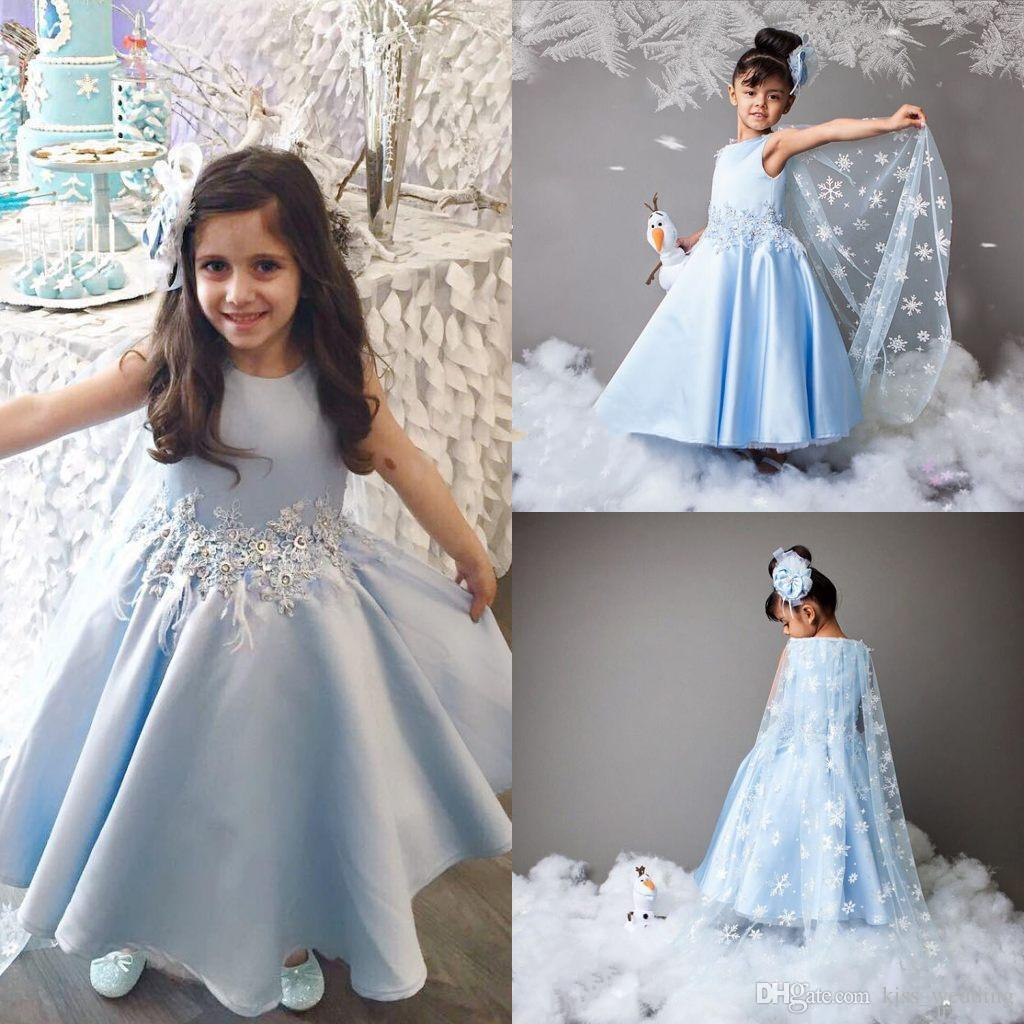 Adorable light blue prom pageant dresses with cape long detachable adorable light blue prom pageant dresses with cape long detachable party graduation gowns kids first communication dress custom made flower girl dresses ombrellifo Gallery