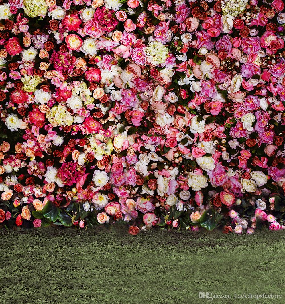 Ful roses blossom wall backdrop wedding romantic peony for Outdoor wall flowers
