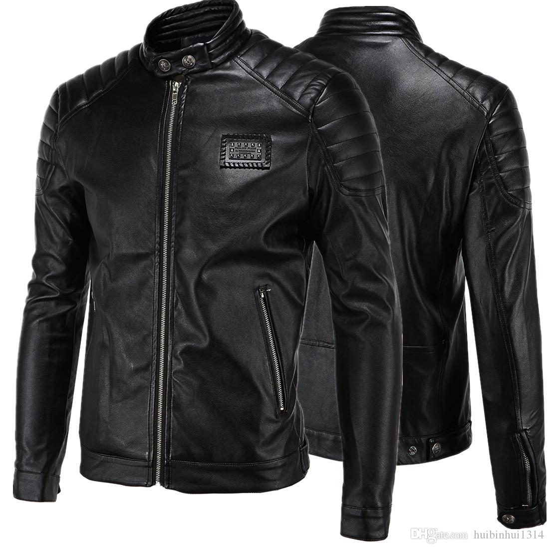 Leather Jackets for Men 2017 High-end Locomotive Zipper Slim Fit ...