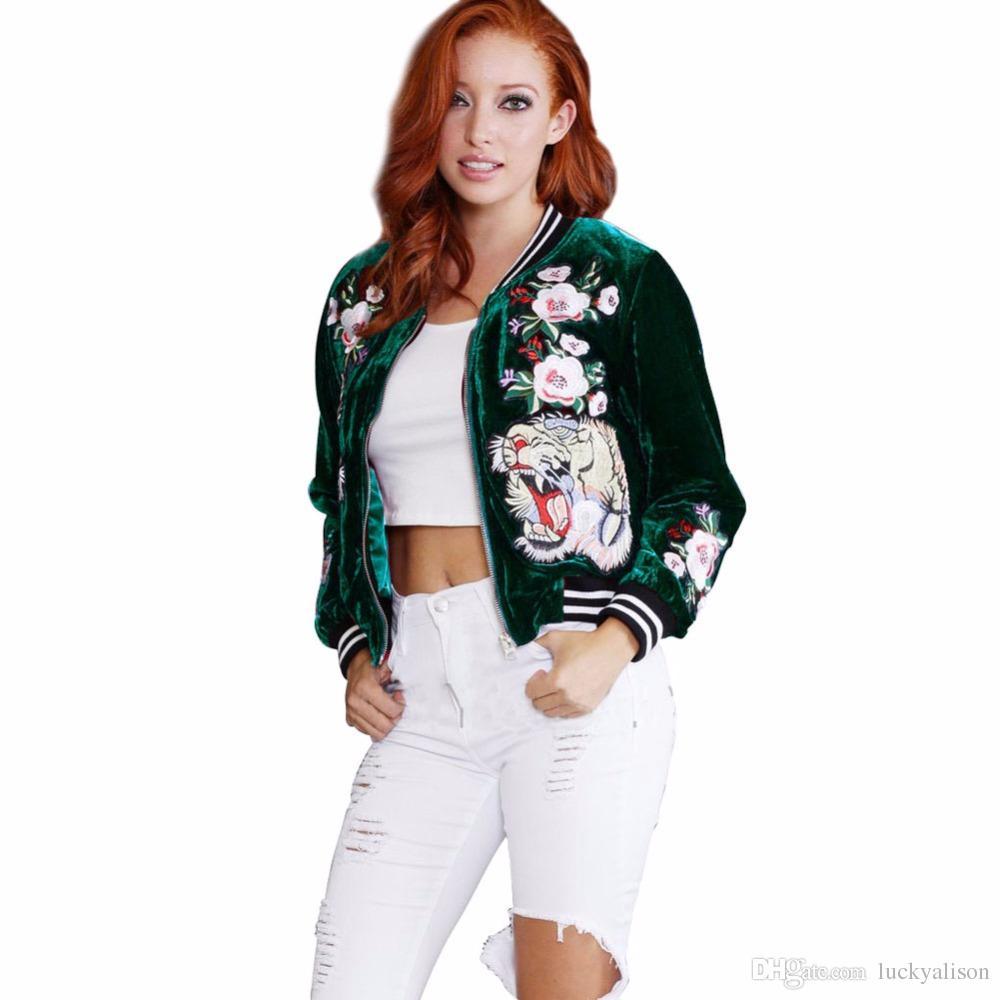 2017 Fashion Plus Size Embroidered Velvet Bomber Jacket Women ...