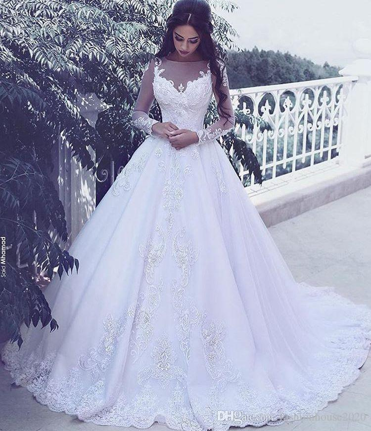 Arabic Style Lace Long Sleeve Wedding Dresses Sheer