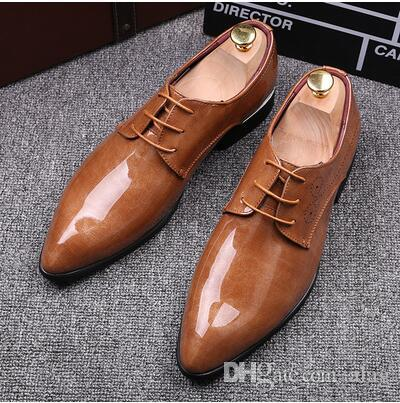 2016 latest fashion pointed mens shoes wedding shoes