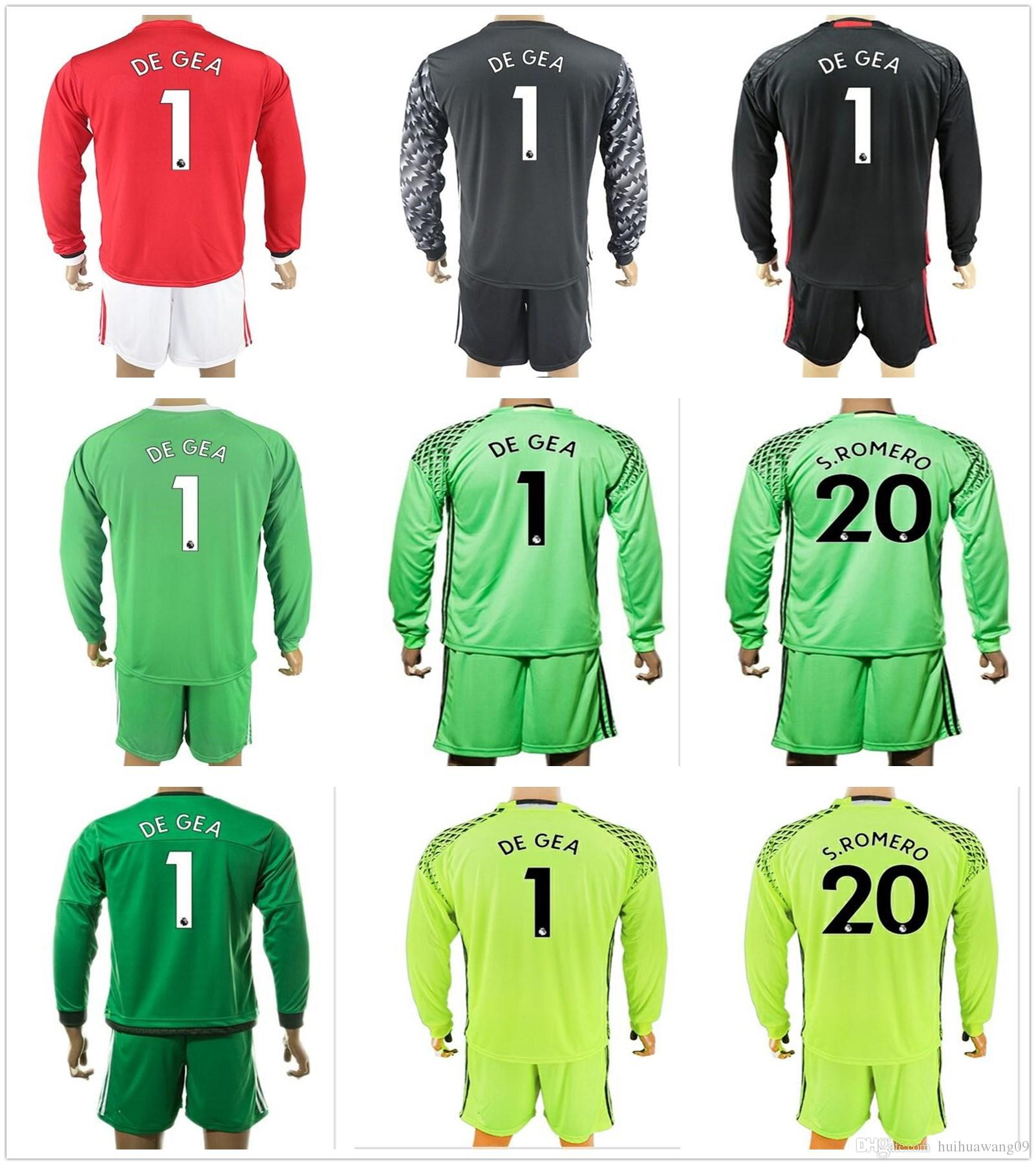 jersey bl 2017 2018 long goalkeeper united kit goalkeeper soccer sets 1 david de gea 20 s.
