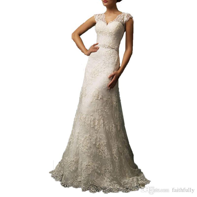 Wedding Gowns A Line Cut : Wedding dresses v cut neckline a line gowns sheer back bridal