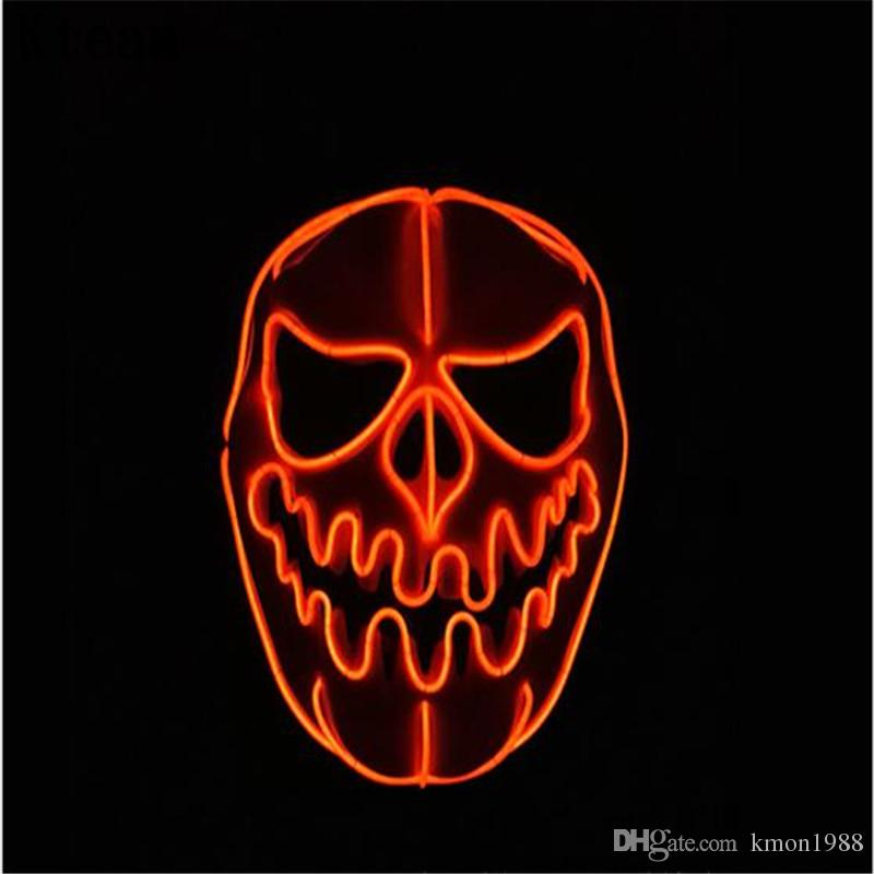 funny party glowing pumpkin el wire mask flashing cosplay led mask costume anonymous mask for glowing dance carnival party masks free size glowing mask