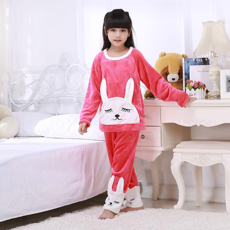 Children Thick Flannel Pajamas Winter Girls Sleepwear Suit Child ...