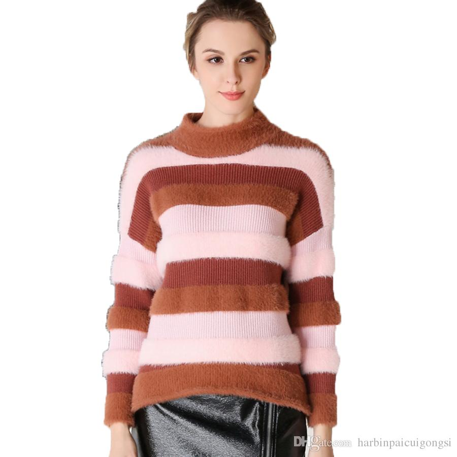 Cashmere Retro Winter Sweater Womens Stripe Turtleneck Long ...
