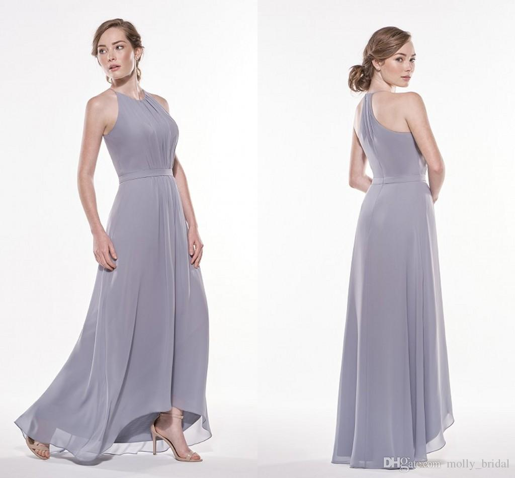 y Halter Silver Bridesmaid Dresses Long 2017 High Low