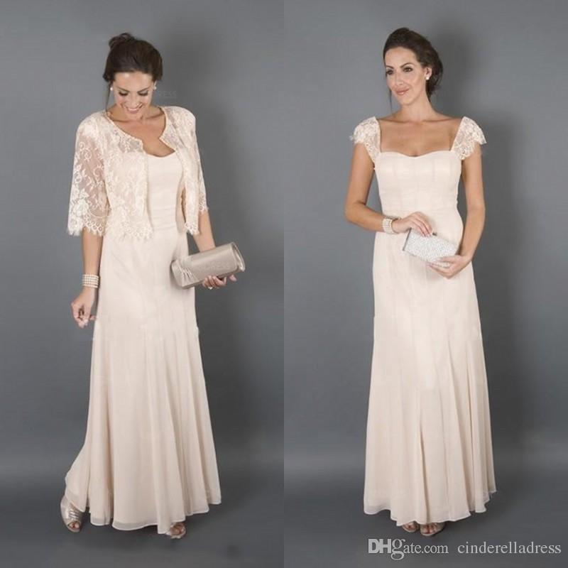 Elegant Mother Dresses for Beach Wedding Long Cap Sleeves Plus