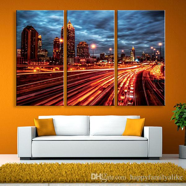 2018 city night lights led canvas wall murals illuminated for City lights mural
