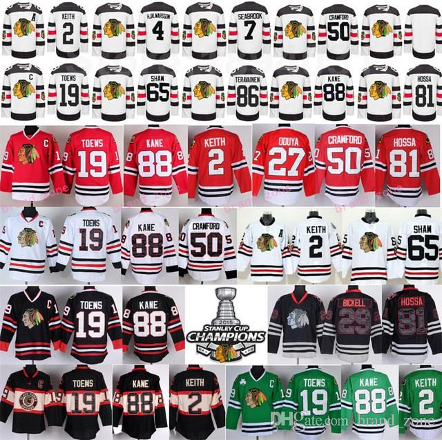 Chicago Blackhawks Hockey de Jersey 2 Duncan Keith 19 Jonathan Toews 50 Corey Cr