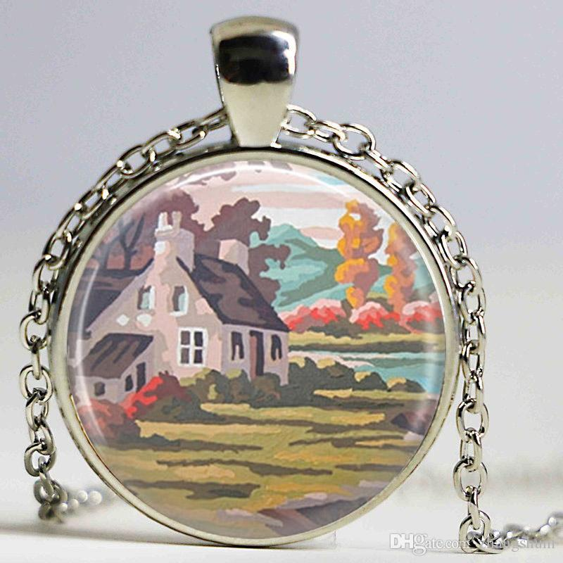 wholesale house necklace painting jewelry shabby chic
