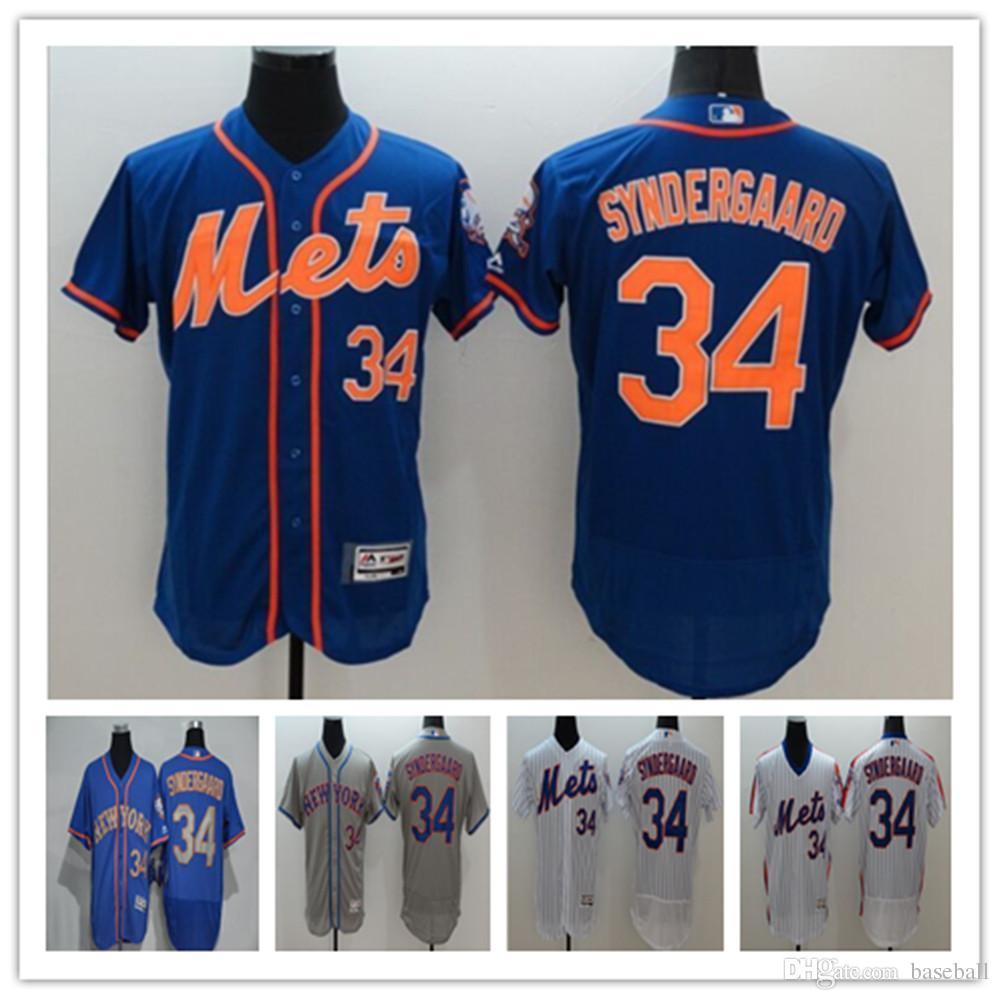 2016 flexbase new york mets 34 noah syndergaard grey blue white pinstripe pullover baseball jerseys
