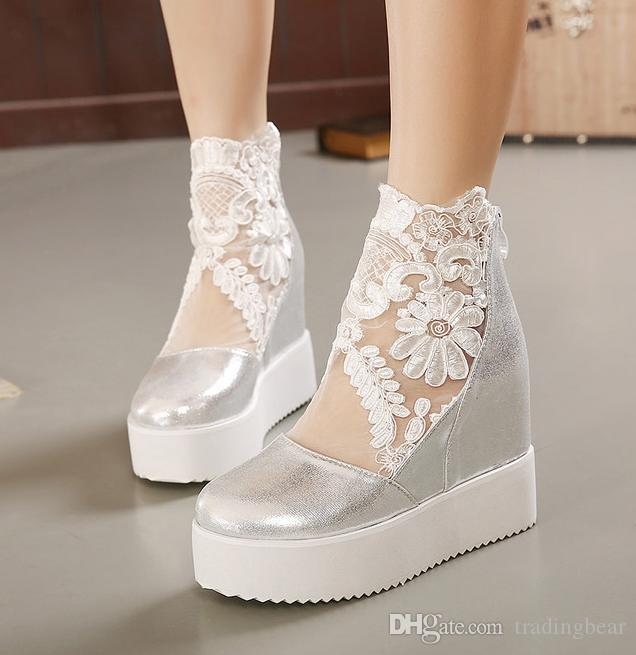 Embroidered White Silver Lace Wedding Shoes Elegant Peep Toe Wedge Heel Bridal Boots 2015 Size
