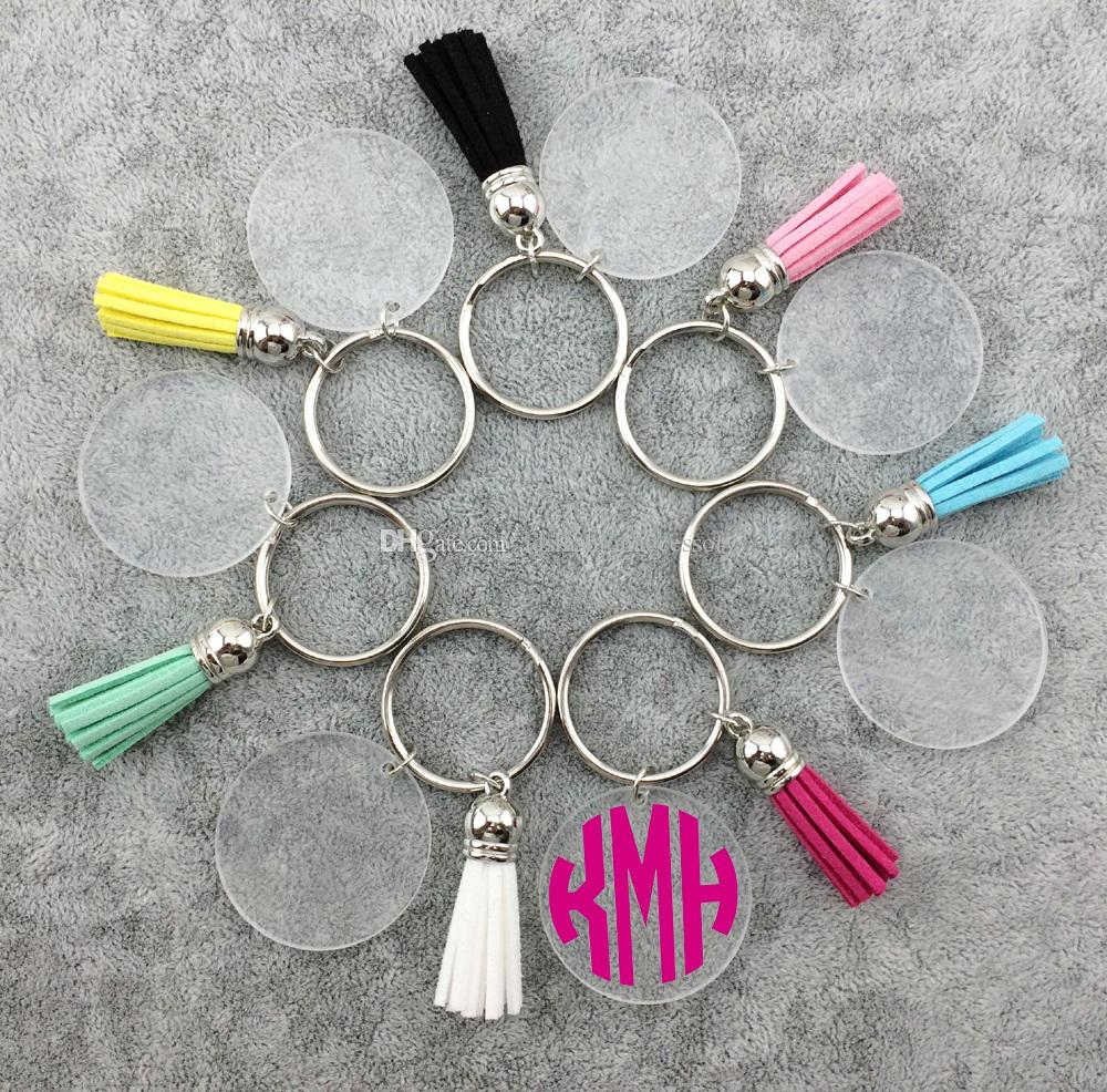 Monogramme Clear Acrylic disque tassel keychain en stock