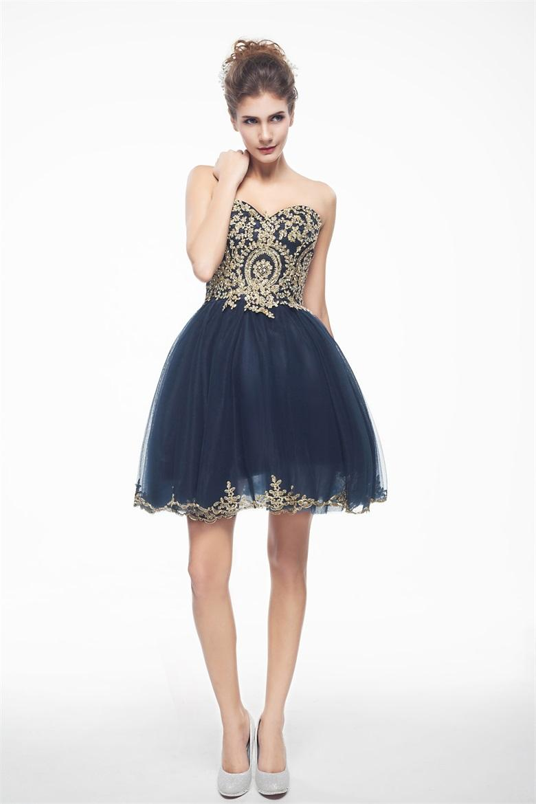 Gold/Red/Navy/Blue/ Short Prom Dresses Appliques Cocktail ...