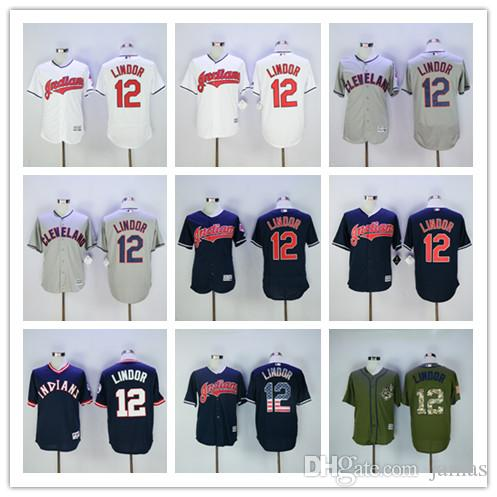 Cleveland Indians Jerseys avec 2016 World Series Patch 12 # Francisco Lindor Jer