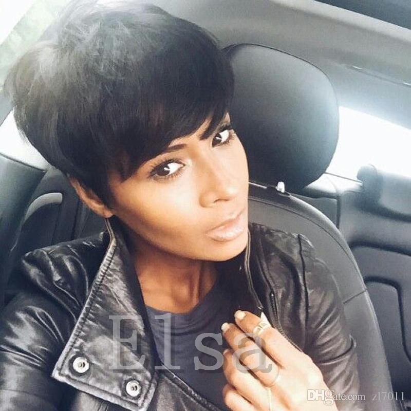 6inch Short Human Hair Pixie Cut Wig Flaxen Brown Grey