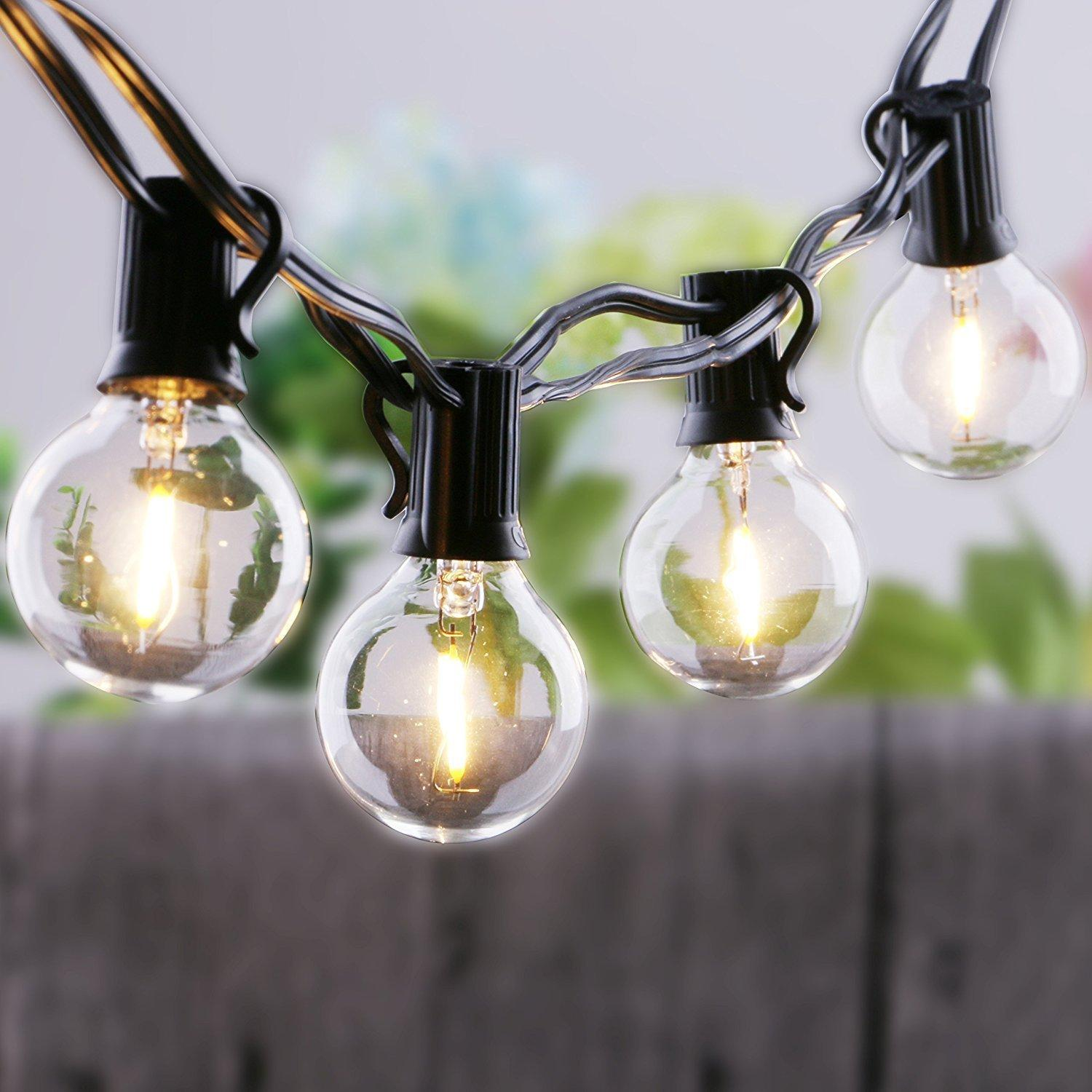 String light company incandescent light bulb pack of 25 - 25ft Clear Globe Bulb G40 String Light Set With 25 G40 Bulbs Included Patio Lights Patio Lights G40 Bulb String Lamp G40 String Lights G40 Bulbs Light