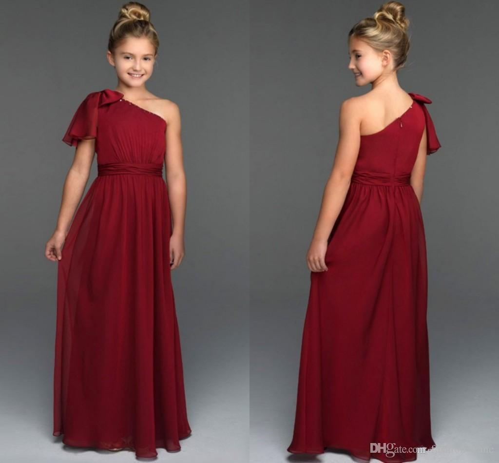 2017 junior bridesmaid dresses cheap one shoulder with bow for Junior wedding guest dresses for summer