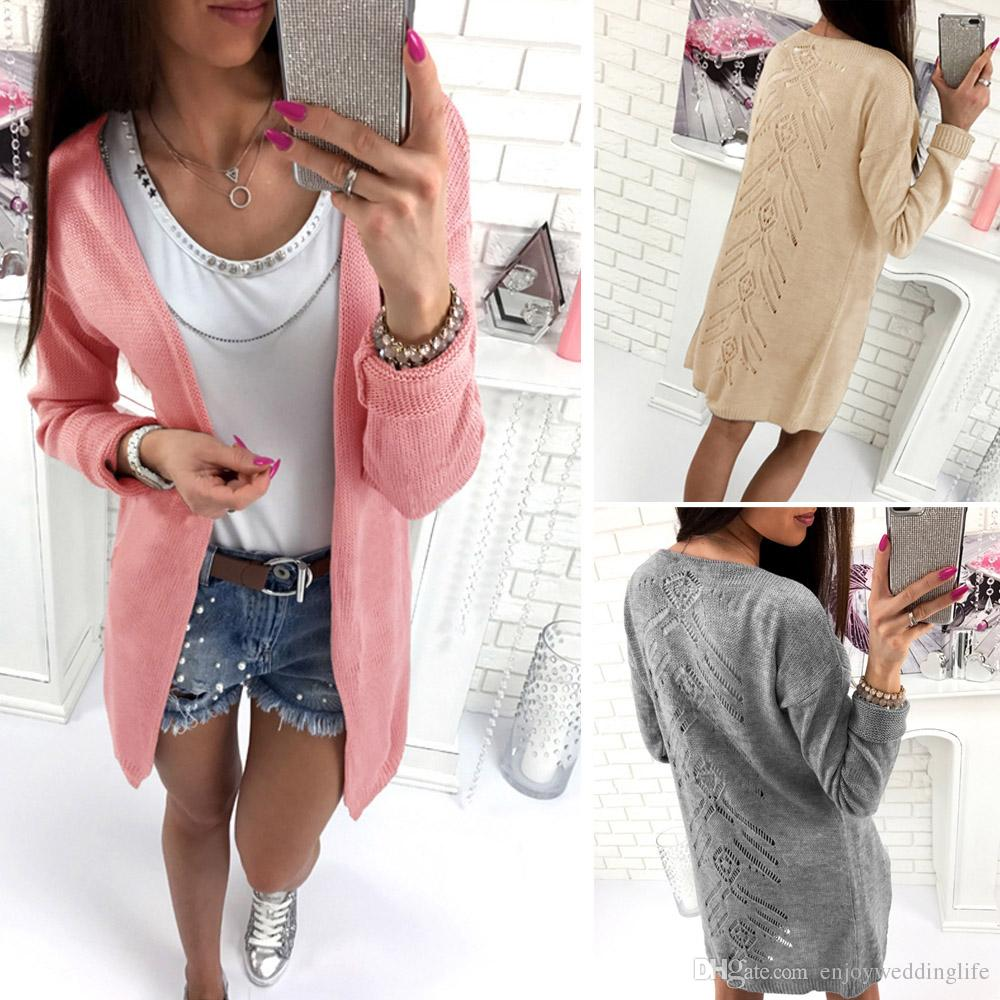 2018 Spring Autumn Women Long Cardigans Knitted Fashion Ladies ...