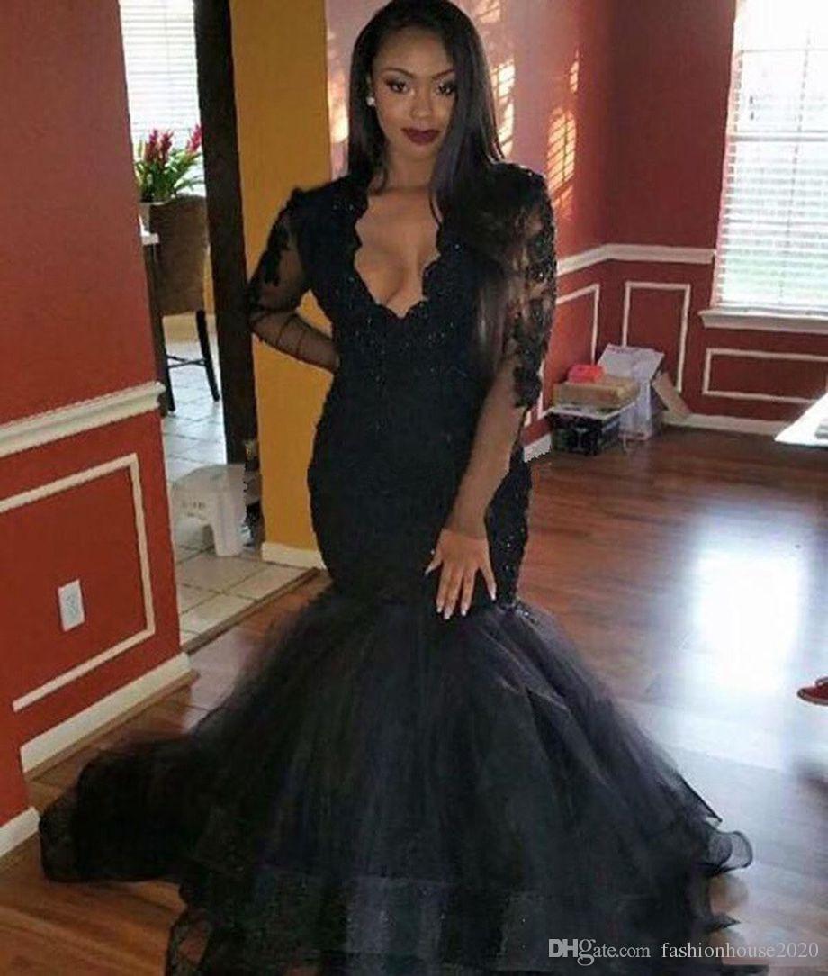 Elegant Black Lace Mermaid Prom Dresses Long Sleeve Deep V Neck ...