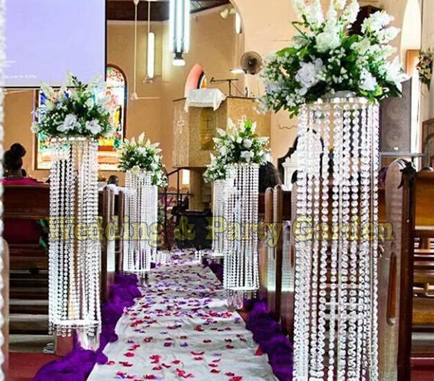 Pillars For Weddings Altar Decorations: Best Wedding Centerpiece Crystal Column Pillar Flower