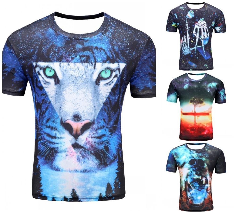 Wholesale 2017 newest galaxy space printed creative cat 3d for Galaxy white t shirts wholesale