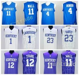 Kentucky Wildcats Jerseys 2017 Collège 11 John Wall Shirt 23 Anthony Davis 4 Raj
