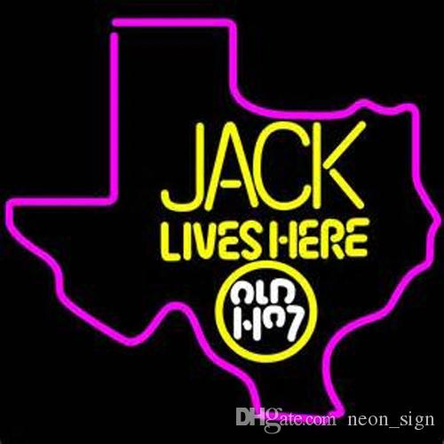 jack lives here texas whiskey neon sign custom handmade real glass tube bar ktv club store art display neon signs 17x14 neon signs jack lives here jack