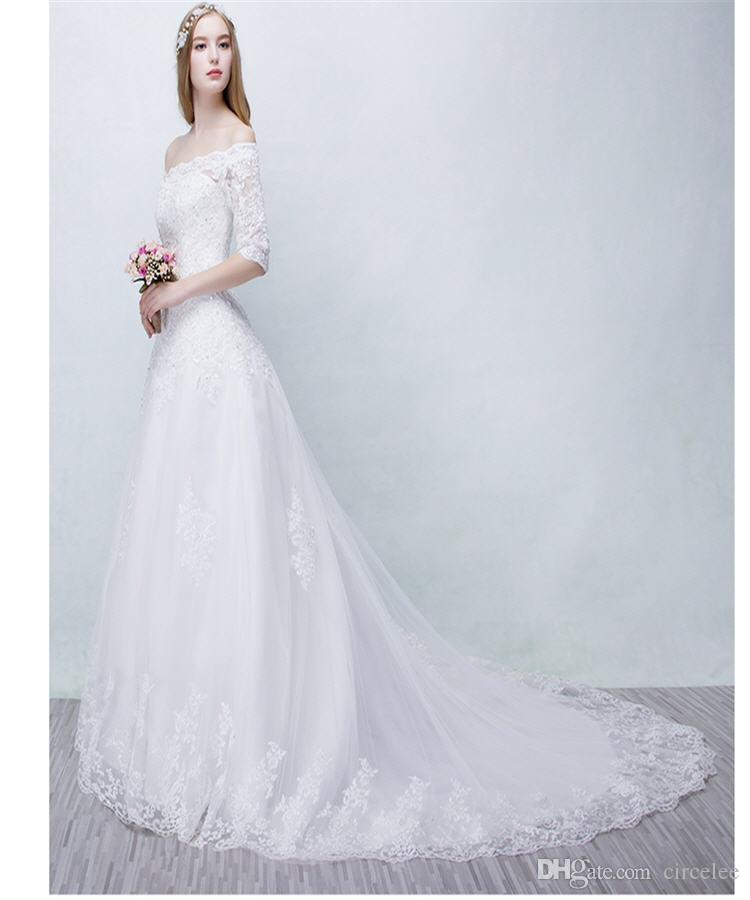 Winter wedding dresses simple white gowns vintage elegant for Simple elegant wedding dresses cheap