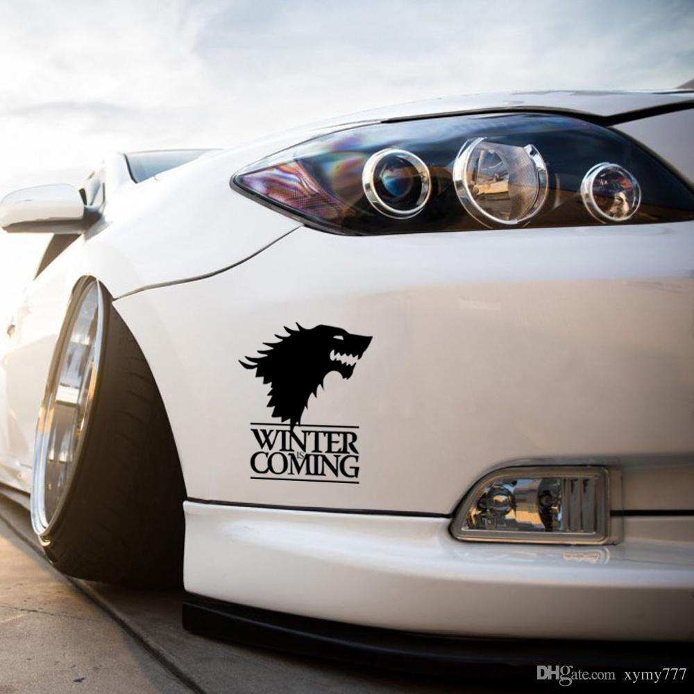 Car decal designer online - Winter Is Coming Wolf Game Of Thrones Car Styling Decorative Head Of Wolf Car Stickers Vinyl Window Waterproof Decals Jdm Car Sticker Vinyl Sticker Wolf