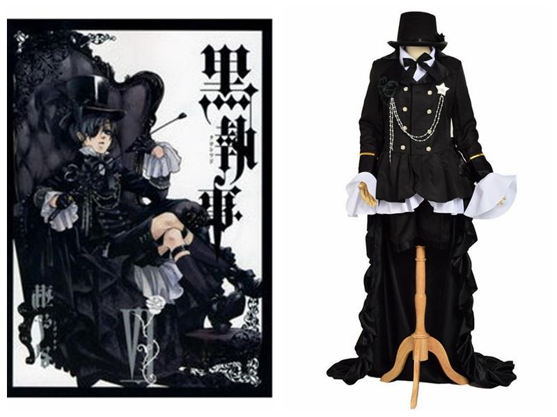 Anime Ciel Phantomhive Cosplay Black Suit Outfits New Black Butler